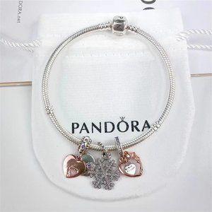 Pandora 925 Sterling Silver Rose Gold Pendant Bracelets💟💟